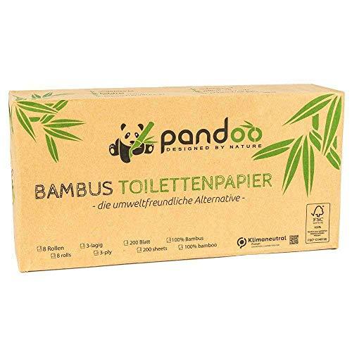 Pandoo 100% Bambus-Toilettenpapier – trocken - Holzfreies WC-Papier in plastikfreier Bambus-Verpackung. 8 Rollen á 200 Blatt - 3-lagig und kuschelweich.