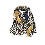 SHANG-JUN Bufanda a Cuadros para Mujer Satén de algodón y un pañuelo de Lino fronterizas Animal Print de Leopardo de impresión señoras Bufanda de Seda de Primavera y Verano Chal Bufanda a Cuadros