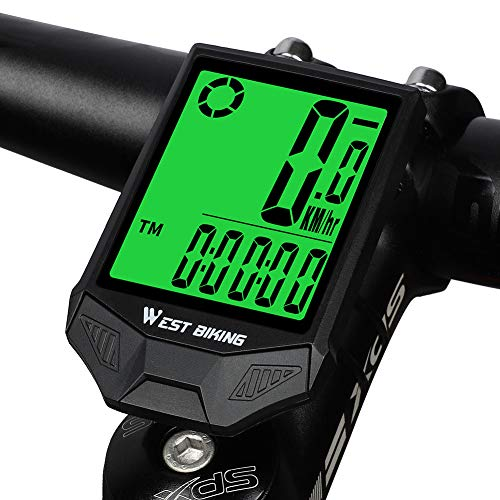 ICOCOPRO Bike Computer Wireless IP66 Waterproof Bike Speedometer & Odometer with 18 Functions Automatic Wake-up Cycling Computer - 2.36 In LCD Backlight Display for Outdoor Riding