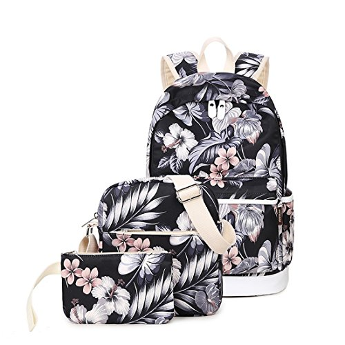 Joymoze School Backpack for Girl Cute Backpack Set 3 Pieces for Women Floral