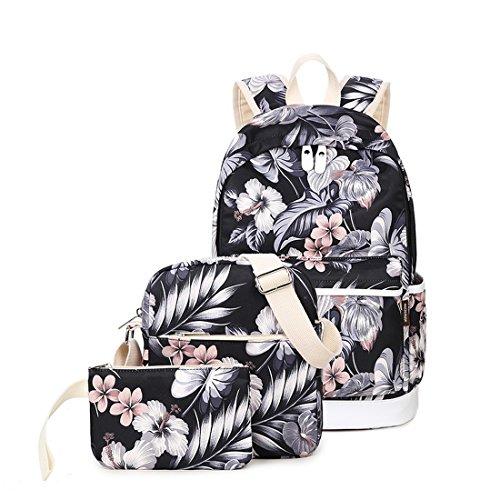 Joymoze Wasserdichter Modischer Bedruckter Schulrucksack für Mädchen Süß Laptop Rucksack Set 3 Stück für Damen Casual Schultertasche Blumen 825