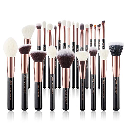 Jessup Make Up Pinsel Set 25 Stücke Kosmetik Schmink Bürsten Augen Gesicht Brushes Lidschatten Puder Schwarz Rosegold Synthetische Natürliche Haare T155