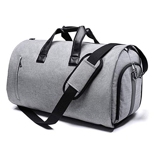 AOO Sports Gym Bag with Adjustable Shoulder Strap and Shoe Pouch Carry on Duffel Bag for Travel or Sport, Man and Woman,Gray