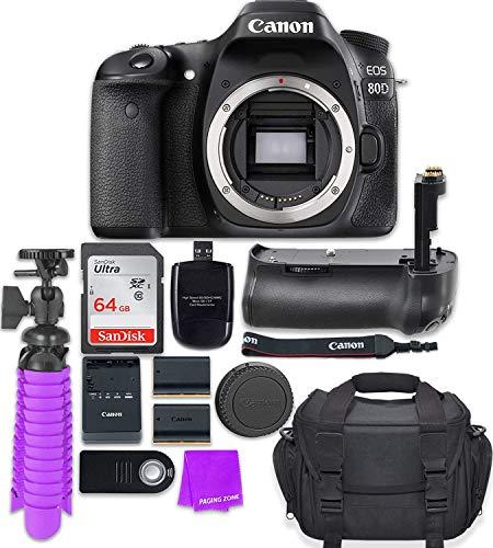 Canon EOS 80D 24.2MP CMOS Full HD Wi-Fi Enabled Digital SLR Camera (Body) + Accessory Bundle