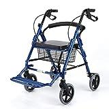 XHF Multifunción portátil de mano Camiones Compras, Hogar Pequeño sillón de ruedas mayor de ultramarinos de cuatro ruedas Caminar puede sentarse carrito plegable Walker auxiliar Walker,Azul
