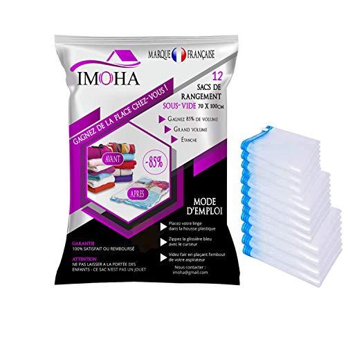 Imoha - Lote de 12 bolsas de almacenamiento al vacío para aspiradora, ahorro de espacio para abrigos, ropa edredones, almohadas, marca francesa, 12 unidades