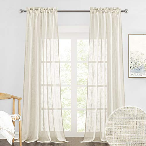 RYB HOME Sheer Curtains 95 inches Long Privacy Semi Sheer for Bedroom Sheer Backdrop Curtains Diffuse Sunlight Exposure, Warm Beige, Wide 52 x Long 95 per Panel, Set of 2
