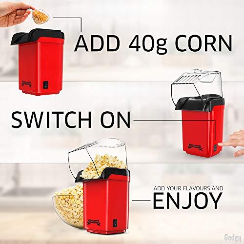 Gadgy ® Macchina per popcorn ad Aria Calda Veloce l Sano, senza olio e senza grassi l Con misurino e coperchio superiore rimovibile l Edizione retrò rossa
