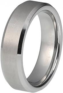 蓝棕榈珠宝碳化钨刷平面经典斜边 6mm 宽传统结婚舒适贴合戒指 R681