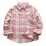 Cute Button Down Plaid Flannel Shirt for Kid Girl Boy Long Sleeve Comfy Shirts Pink Green Tag 130-US 5T