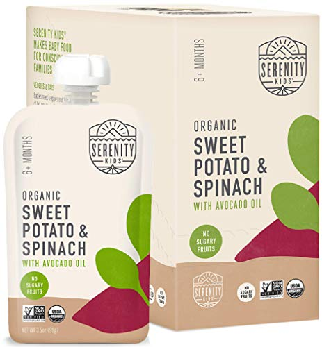 Serenity Kids Baby Food Pouches, Organic Sweet Potato and Spinach with Avocado Oil, For 6+ Months, 3.5 Ounce Pouch (6 Pack)