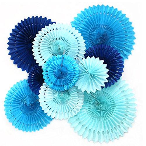 Feelshion 10x Blau Serie Papier Fächer Set, PomPoms Tissue Blumen, Hängende Deko für Geburtstag / Babyparty / Hochzeit / Neujahr / Baby Dusche