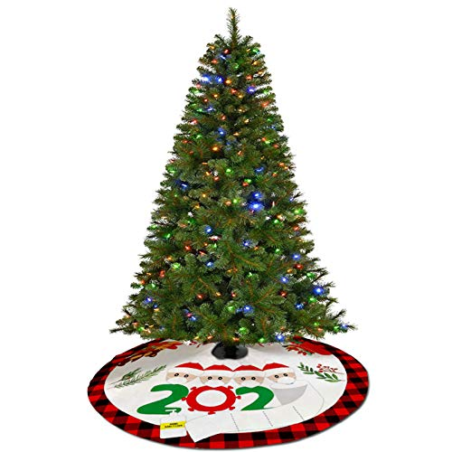 LAPONO Gonna per Albero di Natale Tappeto per Albero di Natale Rosso da 90cm Tappeto sotto Albero di Natale con Ghirlanda Modello Tappeto Albero di Natale Pieghevole per Albero di Natale