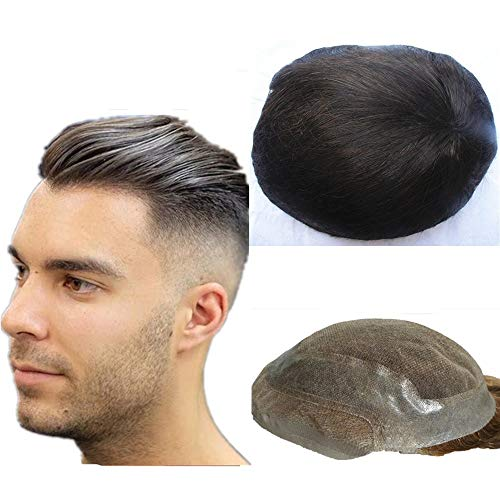 NLW Off black hair Toupee for men natural black color Hair pieces for men European virgin human hair replacement system for men 10x8
