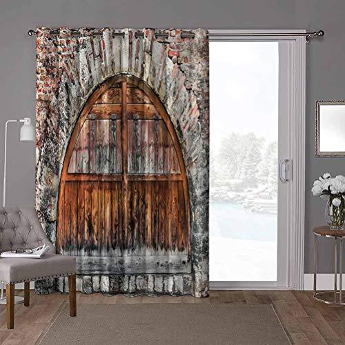 YUAZHOQI cortinas aisladas para puerta corredera, rústica, puerta ovalada de piedra de ladrillo, 100 x 84 pulgadas, persianas verticales para puerta de honda (1 panel)