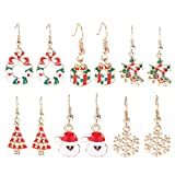 Sauvoo 6/8 pares Pendientes navideños Set de joyas navideñas regalos para mujeres niñas, Acción de gracias Joyería de Navidad Pendientes colgantes/Juego de aretes.