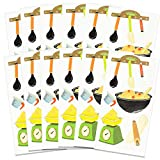 Cooking Stickers Party Supplies Pack -- 60 Chef Baking Stickers for Kids Adults (12 Cooking Party Favor Sheets)