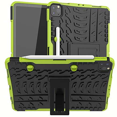 New iPad Pro 11 Inch (2nd Generation) 2020 Case, Ankoe Heavy Duty Hybrid Dual Layer Rugged Rubber Armor Defender Protective Case with Kickstand for iPad Pro 11 2020 (Green)