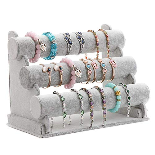 Globalflashdeal Triple Bracelet Holder, 3 Tier Jewelry Display Stand Watch Bangle Bar Necklace Storage Organizer (Gray)
