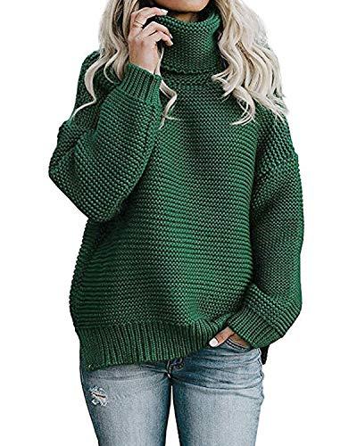 Yidarton Pullover Damen Rollkragenpullover Strickpullover Lässiges Stricken Pulli Winter Sweatshirt Oberteile Elegant, Grün, XL