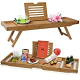 Bathtub Caddy & Laptop Bed Desk – The Original Patented 2 In 1 Innovative Design Transforms Our 100% Extra Large Bamboo Bathtub Tray To Bed Tray – For The Perfect Home Spa Oasis (Natural Bamboo)