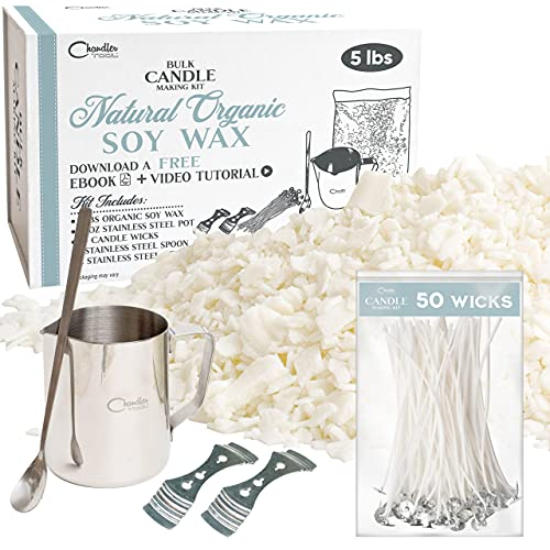 Jumbo DIY candle making kit - enough to make 50 candles - 5lb soy candle wax for candle making supplies & tools & instructions included