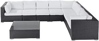 Beliani Patio Conversation Set Sectional Sofa and Coffee Table Brown Rattan Grande