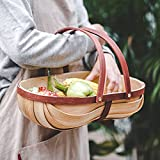 GIVROLDZ Cesta de Comida de Madera, Cesta de Frutas y Verduras, Cesta de jardín de Sussex Trug, Equipo de Cultivo, contenedor Organizador de Picnic de Cocina,Natural
