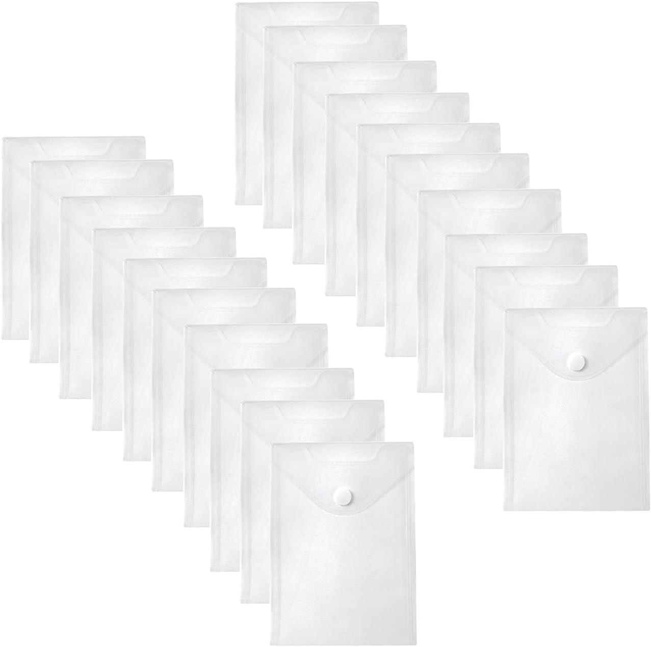 YESSART 7x9 Clear Plastic Envelopes Hook Loop Closure Receipt Stickers Storage Holder 20 Pack