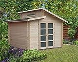 Alpholz Carlsson Gartenhaus Aktiva aus Massiv-Holz | Gerätehaus mit 40 mm Wandstärke | Garten Holzhaus inklusive Montagematerial | Geräteschuppen Größe: 320 x 320 cm | Pultdach