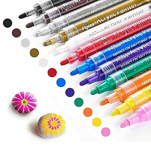 Hjinyu Rotuladores de Contorno Bolígrafo de Contorno Magícos Marcadores Prnamente Marcadores Artísticos Brushmarker para Dibujar, Proyectos de Papel, Regalo de Cumpleaños 12 Colores