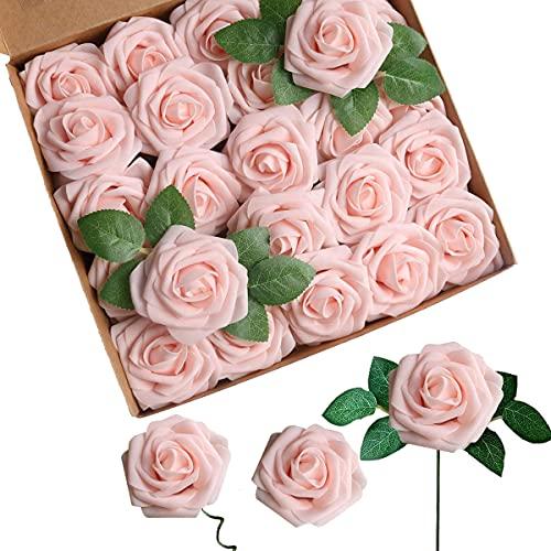 ACDE 25 Piezas Rosas Artificiales, Flores Artificiales Rosa Espuma con Hoja y Vástago Ajustable para Bricolaje Ramos de Boda Decoraciones para el Hogar Nupciales(Champán Rosado)