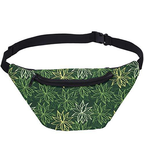 Damen 3D drucken Grüne Blatt Große Kapazität Taille Pack Handy Pouch Sporttasche Dsdwb4080610-S3218