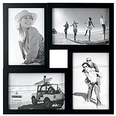 Malden 4x6 4-Opening Collage Matted Picture Frame - Displays Four 4x6 Pictures - Black