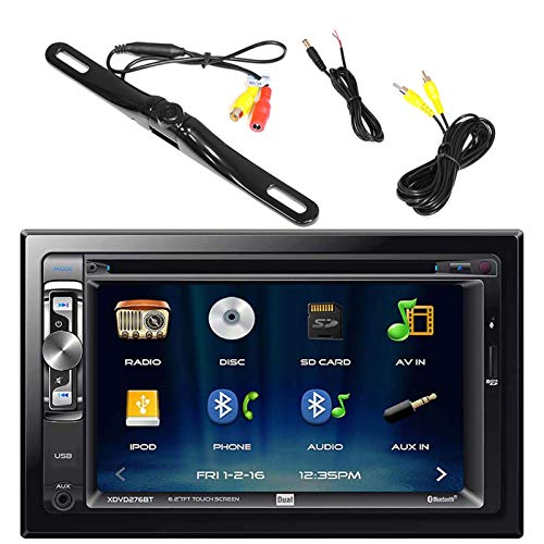 """Dual AV Double Din 6.2"""" Touch Screen DVD Bluetooth USB AUX Receiver, PLCM18BC Pyle License Plate Mount Rear View Backup Color Camera With Distance Scale Line (Zinc Black Chrome)"""