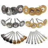 36 Stück Messing Stahl Polierwerkzeug Bleistift Drahtbürste, Rad Stahlbürste, Cup Stahlbürste 1/8 '(3 mm) Schaft für Dremel Polierzubehör