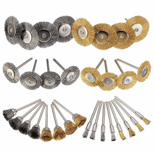 "36 Piezas Herramienta giratoria de pulido de acero de latón Lápiz Cepillo de alambre, Cepillo de acero para rueda, Cepillo de acero para copa Vástago de 1/8 ""(3 mm) para accesorios de pulido Dremel"