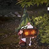 Garden Gnomes Statues ,Resin Gnome Figurine Carrying Magic Orb with Solar LED Lights, Solar Garden Decorations Outdoor