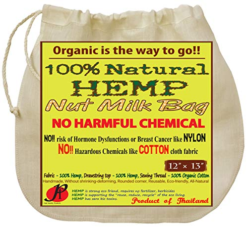 P&F Hemp Nut Milk Bag Reusable | All Natural | No More Microplastic and Toxic Chemicals | Better Than Cotton | Super Healthy Strainer for Making Yogurt/Ghee/Rice | Almond Cloth Filter | 13 X 12-Inches