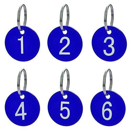 Aspire 50 Llavero Numerado, Etiquetas Numeradas con Llavero, Etiqueta Acrílica con Anilla para Organización y Clasificación, Etiqueta Redonda de Colore Azul, 1-50