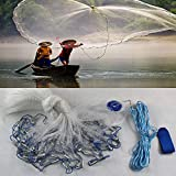 SHIOUCY Fishing Cast Net for Bait Trap Fish Hand Throw Nylon Mesh Net with 6.6m/22ft Hand String Hand Casting...