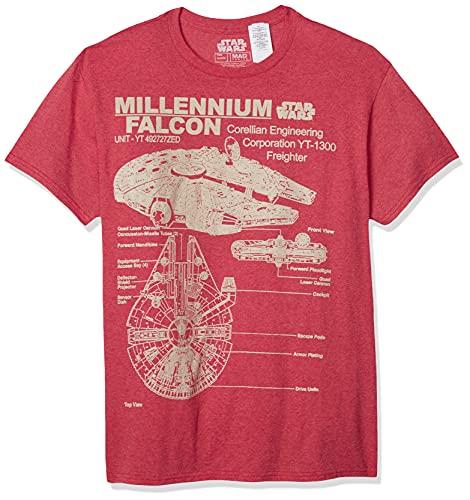 STAR WARS Millennium Falcon - Camiseta para hombre, Rojo (Red Heather), L