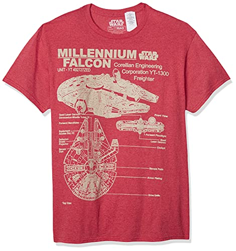 STAR WARS Men's Millennium Falcon Detailed Drawing T-Shirt, Red Heather, Large