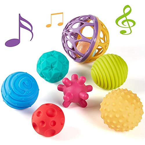 Baby Toys 3-6 Months Sensory Balls Multiple Textured Multicolor 7 Pieces, Hand Catching Balls Rattle Sensory Toys for Babies Infant Toy Sensory Developmental Newborn Baby Toys 6 to 12 Months