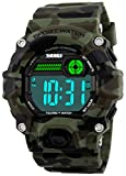 Men Sport Watch Talking Music Alarm Snooze LED Digital Watches Outdoor Military Shockproof Luminous Watch (Camouflage Green)