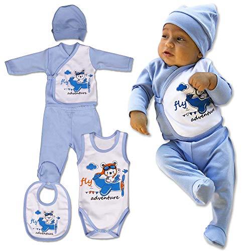 QAR7.3 5en1 Conjunto, Ropa para Bebés Niños, 0-3 Meses, 100% Algodón, Azul