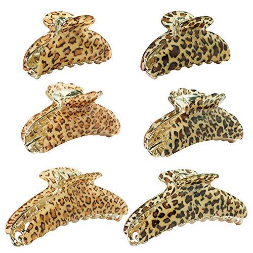 YMHPRIDE 6 pinzas para el cabello, pinzas para el cabello de leopardo de plástico, agarre antideslizante para el cabello, soporte para cola de caballo, accesorios para pasador (3 tamaños)
