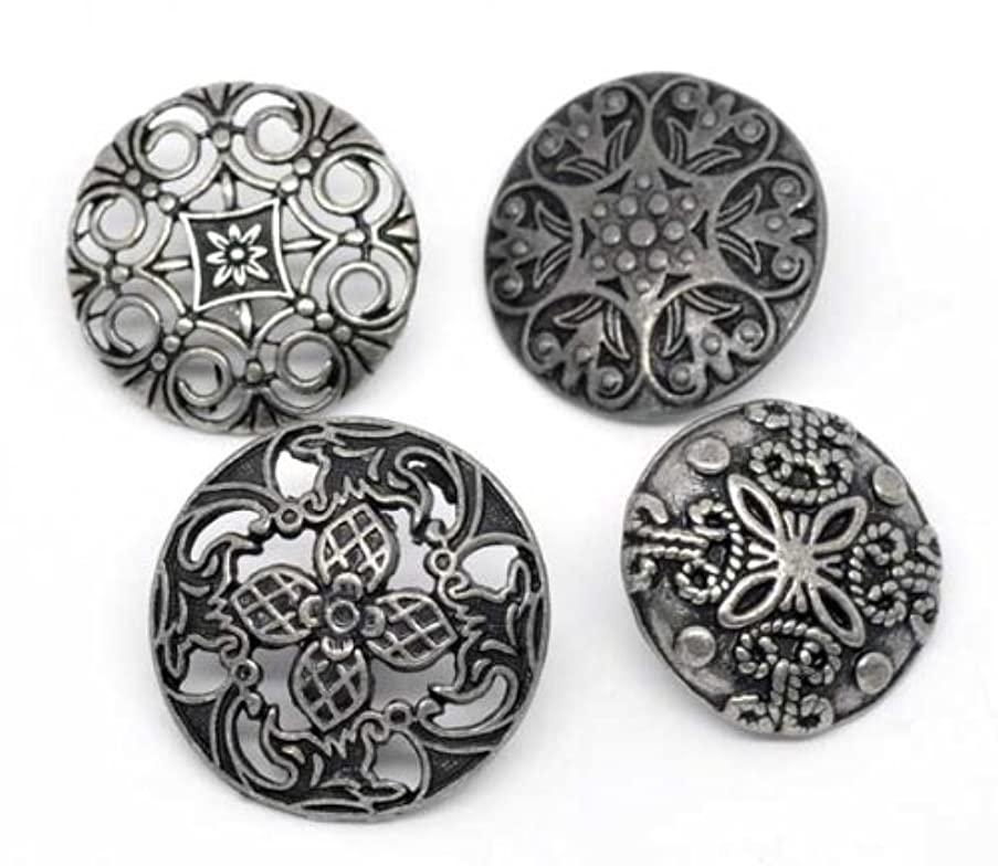10pc Mixed Antique Silver Fillagree Sewing Metal Buttons 7/8