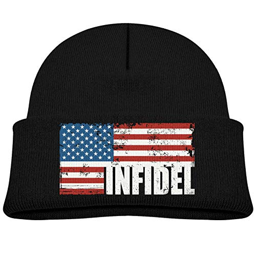 RDVIOUW American Infidel Word with USA Flag Children's Knitted Hat Work Soft Warm Cotton Skull Beanies Black