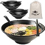 3 Sets (12 Piece) Melamine Ramen Bowl Set, 37 oz Japanese Style Soup Bowls Set with Chopsticks, Ladle Spoons Set and Large Bowl for Noodles, Ramen, Asian dishes